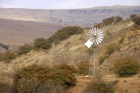 Wind mill on the road to Fouriesburg, Free state, South Africa