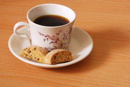 Tasse de caf� avec les biscuits