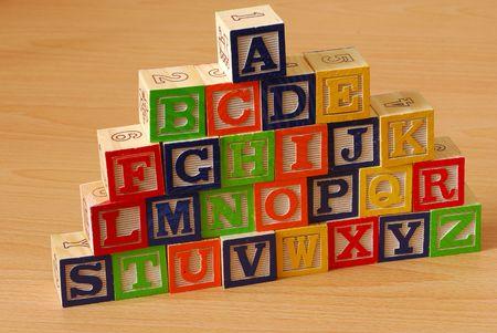 wood blocks: Alphabet blocks A to Z Stock Photo