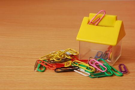 Paperclips with a container photo