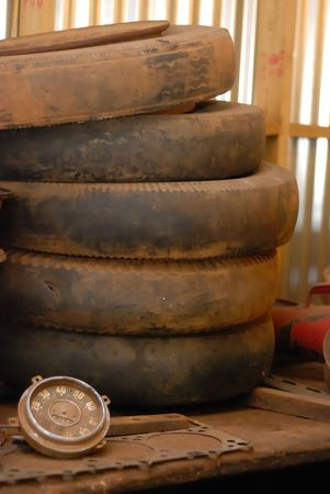 gage: Tyres and a gage Stock Photo
