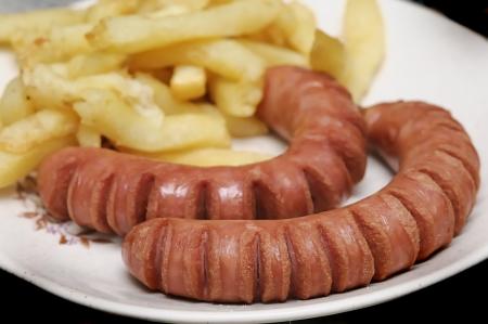 frankfurters: Frankfurters and chips Stock Photo