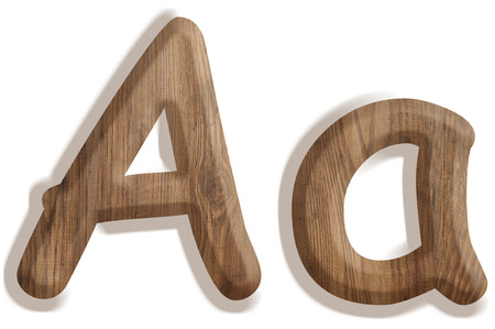 Alphabet made from wood, isolated on white background