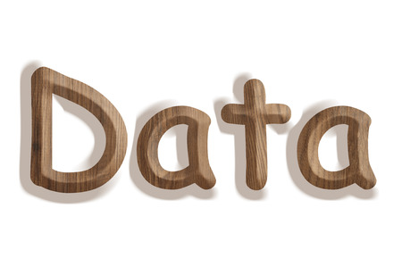 donn�es Business concept de mot en bois sur fond blanc Banque d'images