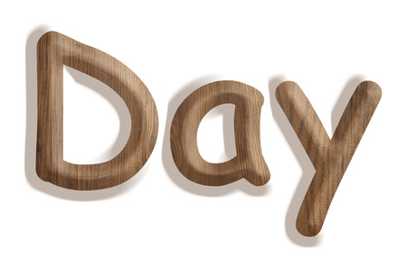 Business concept   wooden word day on white background