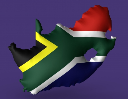 Republic of South Africa flag super embossed on map Stock Photo