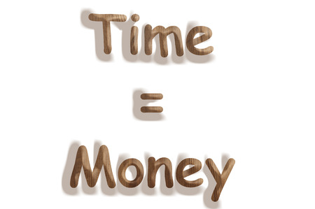 Business concept   wooden word time equal money  on white background photo