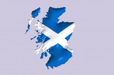 Scotland s flag super embossed on map