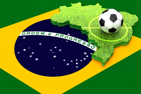 A soccer ball on the map  of Brazil covered with grass and the flag of Brazil  as a background for 2014 soccer world cup