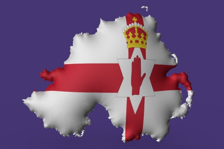 ulster: The Ulster Banner super embossed on a map of North Ireland Stock Photo