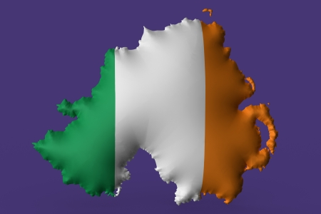 irish map: The Irish tricolor super embossed on a map of North Ireland Stock Photo