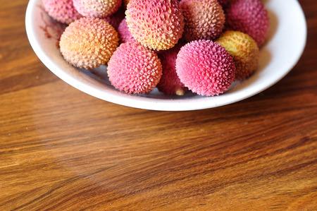 lichi: A Bowl of Litchis Stock Photo