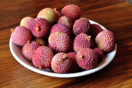 leechee: A Bowl of Litchis Stock Photo
