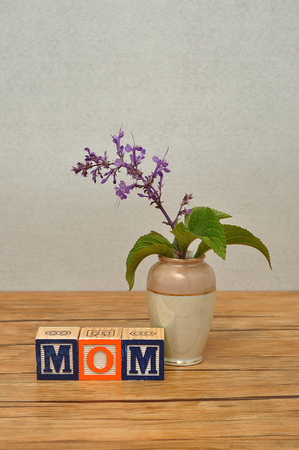 spelled: Mom spelled with colorful alphabet block displayed with a small purple flowers in a vase on a table