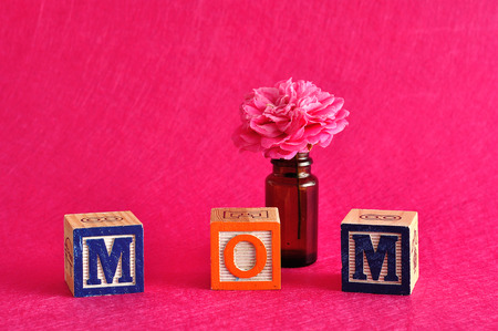spelled: The word mom spelled with alphabet blocks against a pink background with a pink flower
