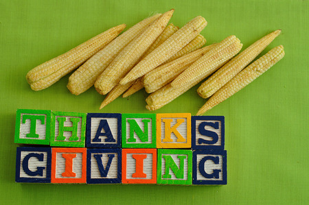 thanks giving: Thanks giving  spelled with Alphabet blocks with corn against a green background