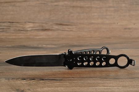 butterfly knife: Steel butterfly knife (balisong)