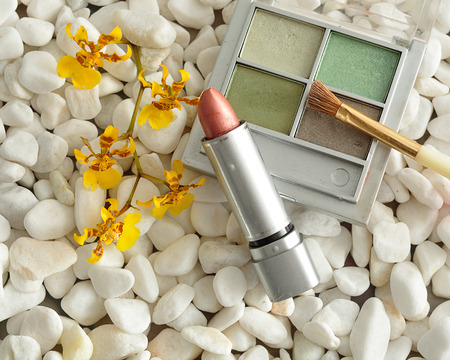 lip stick: A palette with green shades of eye shadow and a brush, with lip stick displayed on white pebbles with a yellow orchids Stock Photo