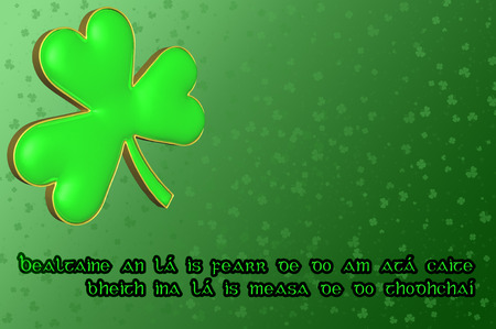 happiness ace: Saint Patricks Day Card with green clover leaf and Irish blessing