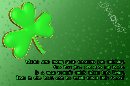 Saint Patricks Day Card with green clover leaf and Irish blessing