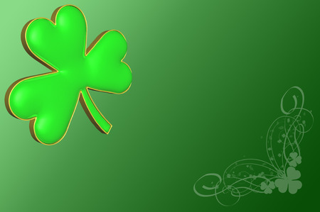 four fourleaf: A clover on a green background with various decorations for St, Patricks day