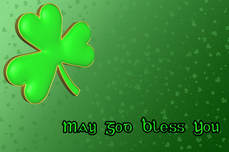 four fourleaf: Saint Patricks Day Card with green clover leaf and Irish blessing