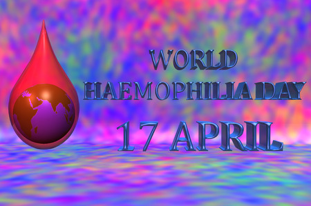 hemophilia: 3D illustration. World Haemophilia day 17 April. An earth globe inside a blood drop with a red background.