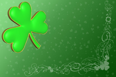 irish culture: A clover on a green background with various decorations for St, Patricks day