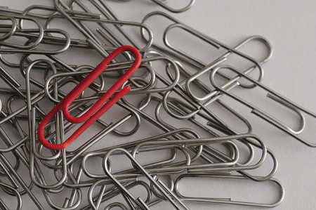 metal fastener: Steel paper clips with a single red paperclip