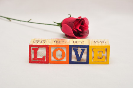 saint valentine   s day: Valentines Day.Love Spelled with colorful alphabet blocks and a red rose