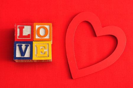 saint valentine   s day: Valentines Day.Love Spelled with colorful alphabet blocks and a red heart