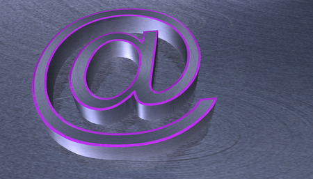 metal net: 3D Illustration.at email sign brushed metal with pink edge