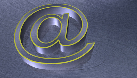 yelllow: 3D Illustration.at email sign brushed metal with yelllow edge