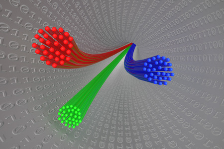 fibre optic: 3D Illustration: Red, blue and green fibre optic cables in a silver tube decorated with binary code
