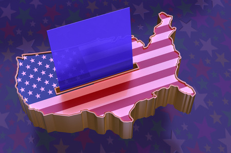 slot in: 3D Illustration: Map of USA with flag superimposed, with blue ballot paper in slot representing Republican party