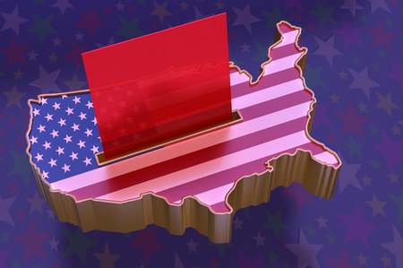 ballot paper: 3D Illustration: USA Map with flag super-imposed, with red ballot paper in slot