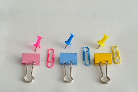 Binder clips. paper clips and push pins