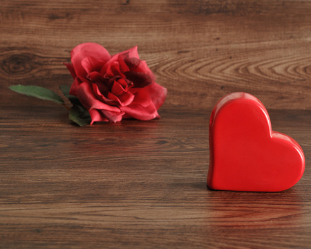 Valentines Day. A red heart with a red rose Stock Photo
