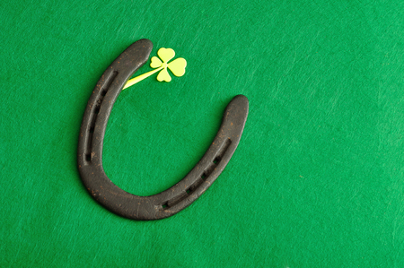 A horse shoe and a shamrock for St. Patricks day