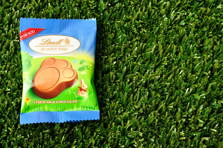 Kwa Zulu Natal - 21 March 2017 - Lindt Bunny paw for easter displayed on artificial grass