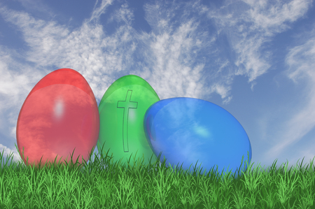 Three See Through Easter Eggs With A Cross On The Green Egg Stock Photo