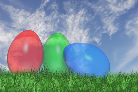 3D. Three see trough easter eggs