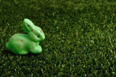 A green bunny for easter decoration displayed on artificial grass