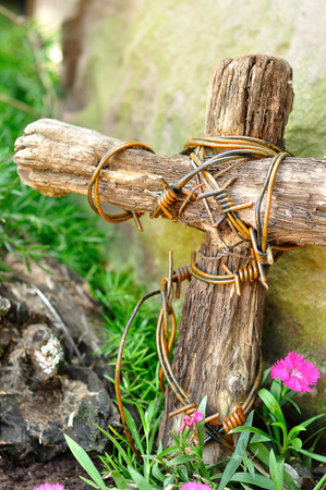 easter cross: A wooden cross wrapped in barb wire in a garden for easter