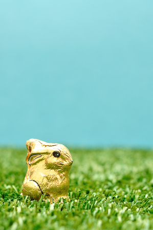 An easter chocolate bunny wrapped in gold paper  Stock Photo