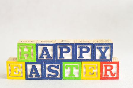 Happy Easter spelled with alphabet blocks