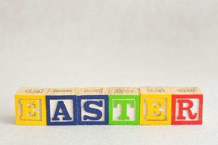 Easter spelled with alphabet blocks