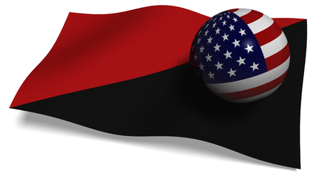 3D illustration. Antifa flag with a USA flag in a ball Stock Photo