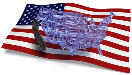 3D illustration. See through map of America against a USA flag and California loose of the rest of America Stock Photo