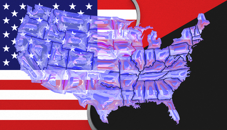 3D illustration. USA flag and an Antifa flag with a see through map of America on top Stock Photo